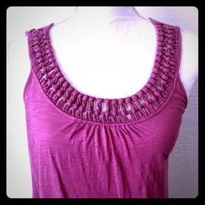 ***Loft Pink Crochet Neckline Tank Top Size Small